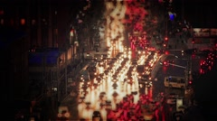 Night traffic in the city with lights - stock footage