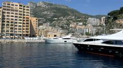 Monaco Aerial Monte Carlo city building waterfront marina Stock Footage
