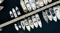 Monaco Aerial yacht Monte Carlo water finance marina boat Stock Footage