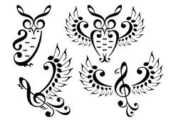 Music bird and owl, vector set Stock Illustration
