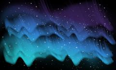 Space, aurora background - stock illustration