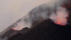 Volcanic activity at dawn from vents Stock Footage