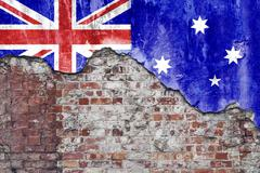 Australian Flag On Grungy Wall - stock photo