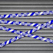 Police Line Metal Shutter Stock Illustration