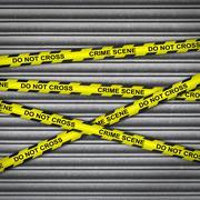 Crime Scene Metal Shutter - stock illustration