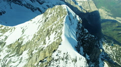 Aerial Eiger Swiss Grindelwald Rock climbing mountaineering - stock footage