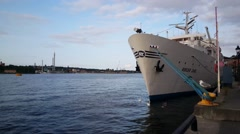 Floating hostel Ånedin Hostel cruise ship M/S Birger Jarl in Stockholm Stock Footage