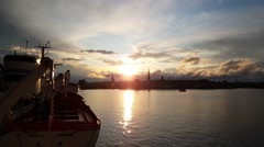 Stockholm Sweden sunset from a old cruise ship Stock Footage