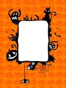 Halloween vector frame. - stock illustration