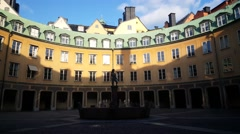 Circle Of Houses In Gamla Stan Old Town Stockholm Sweden Stock Footage