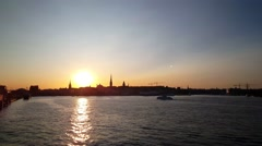 Sunset from Gamla stan in Stockholm Sweden Stock Footage