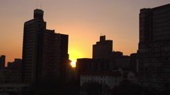 Buildings in Hillbrow, downtown Johannesburg, city centre at sunset, South Stock Footage
