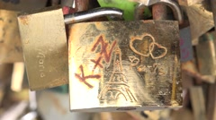 Close up of one padlock on the Pont de l'Archevêché (in 4k), Paris, France. - stock footage