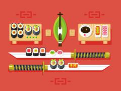 Japanese cuisine, sushi - stock illustration