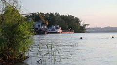 Dnipro River at Sunset Stock Footage