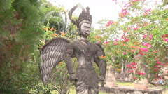 Statue in Buddha Park near Vientiane, Laos Stock Footage