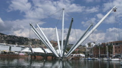 Bigo structure in the old port of Genoa Stock Footage