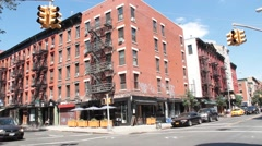 East Village Corner of Avenue B and 10th Street with Restaurant Stock Footage