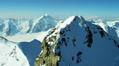 Aerial Switzerland Jungfrau summit mountain Alps ice sport - stock footage