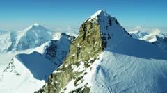 Aerial Switzerland Jungfrau summit mountaineering outdoor Alps snow - stock footage