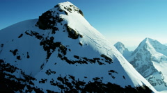 Aerial Swiss Jungfrau mountain summit climbers Alps outdoor - stock footage