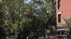 Avenue A and 10th Street Across from Tomkins Square Park Stock Footage