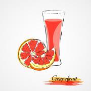 Stock Illustration of Grapefruit juice