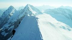 Aerial Switzerland Jungfrau summit mountaineering outdoor - stock footage