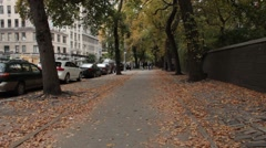 Empty Upper Fifth Avenue in the Fall or Autumn Stock Footage