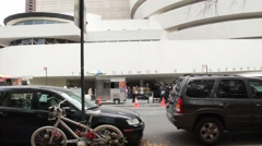 Pan up to New Addition of Guggenheim Museum in NYC Stock Footage