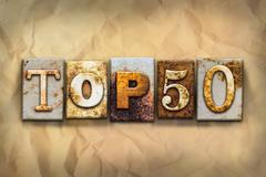 Stock Illustration of Top 50 Concept Rusted Metal Type