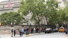 Crowds Line up for Exhibition at Frick Collection Stock Footage