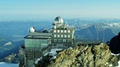 Aerial Switzerland Jungfraujoch Sphinx Observatory Grindelwald  mountain Stock Footage