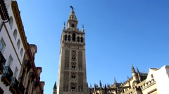 Panoramic view of the Cathedral of Seville with the Giralda in Seville, Spain Stock Footage