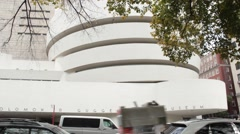 Guggenheim Museum in Autumn on New York City's Fifth Avenue Museum Mile Stock Footage