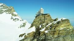 Aerial Switzerland Jungfraujoch Sphinx Observatory Grindelwald snow Stock Footage