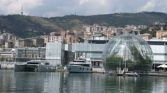Luxury yachts docked in the old port of Genoa Stock Footage