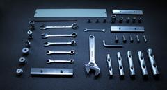 Set of mechanical hand tools on black background Stock Photos