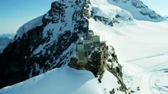 Aerial Swiss Jungfraujoch Sphinx Observatory Grindelwald mountain Stock Footage
