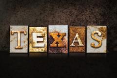Texas Letterpress Concept on Dark Background Stock Illustration