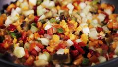 Cooking mixture of vegetables Stock Footage