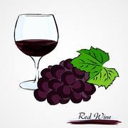 red wine - stock illustration