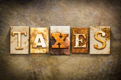 Stock Illustration of Taxes Concept Letterpress Leather Theme