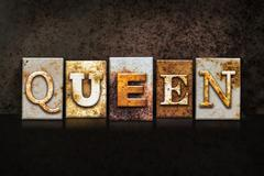 Queen Letterpress Concept on Dark Background Stock Illustration