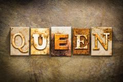 Queen Concept Letterpress Leather Theme - stock illustration