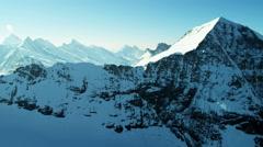 Aerial Switzerland Monch mountain Alps snow ice Wilderness Stock Footage