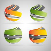 Sphere icons - stock illustration