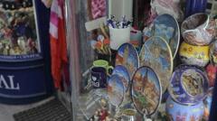 Souvenirs in Shop Window, Old Town, Prague, Czech Republic, Europe Stock Footage