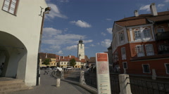 View of Small Square with The Council Tower in Sibiu Stock Footage