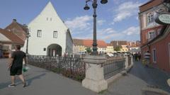 Small Square seen from Liars Bridge in Sibiu Stock Footage